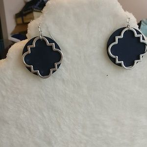 Quatrefoil and navy leather earrings